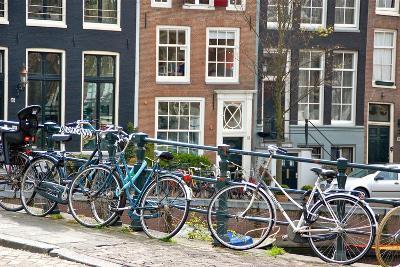 Bikes on Lijnbaansbrug Bridge, Amsterdam, the Netherlands--Photographic Print