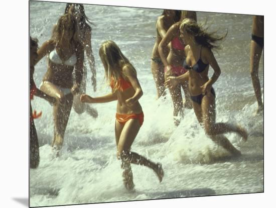 Bikini Clad Teens Frolicking in Surf at Beach-Co Rentmeester-Mounted Photographic Print