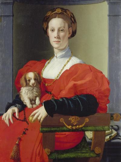 Bildnis Einer Dame Mit Schosshuendchen, 1537-1540-Agnolo Bronzino-Giclee Print