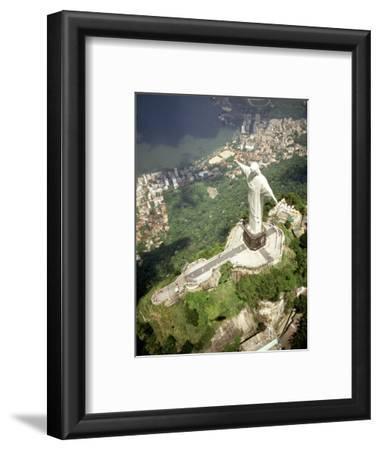 Aerial of Corcovado Christ Statue and Rio de Janeiro, Brazil