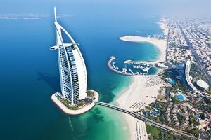Aerial View of the Burj Al Arab, Dubai, United Arab Emirates by Bill Bachmann