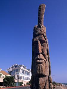 Boardwalk and Totem Pole on the Beach, Ocean City, Maryland, USA by Bill Bachmann