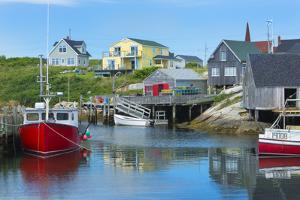 Canada, Peggy's Cove, Nova Scotia, Peaceful and Quiet Famous Harbor with Boats and Homes in Summer by Bill Bachmann
