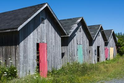 Canada, Prince Edward Island, Prim Point Graphic Beauty of Stacked Lobster Fish Houses by Bill Bachmann