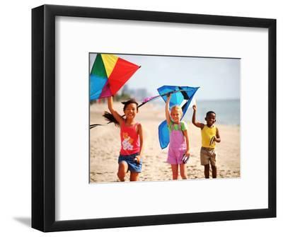 Children Flying Kites on the Beach