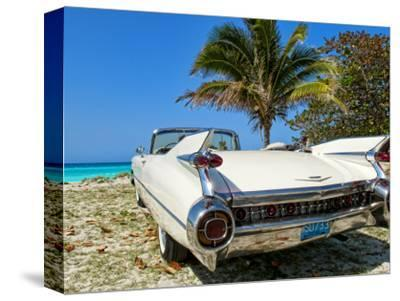 Classic 1959 White Cadillac Auto on Beautiful Beach of Veradara, Cuba