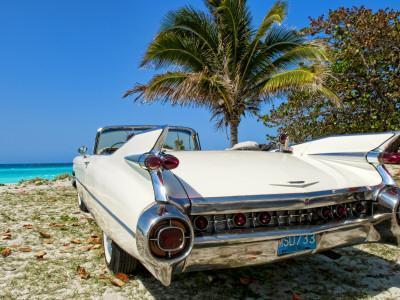 Classic 1959 White Cadillac Auto on Beautiful Beach of Veradara, Cuba