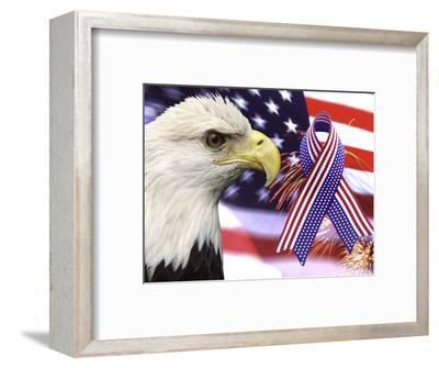 Eagle, Fireworks, Ribbon, and Flag