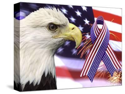 Eagle, Fireworks, Ribbon, and Flag