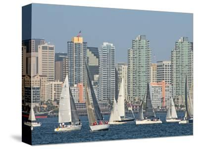 Fleet of Sailboats and Skyline of San Diego, California, Usa