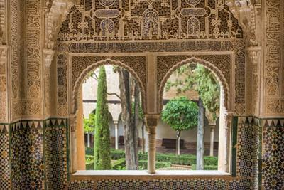 Granada, Spain, Alhambra, Close Up of Architecture in Nasrid Palace