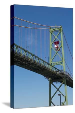 Halifax, Nova Scotia, Harbor with Large Famous Bridge Mckay Bridge with Canadian Flag Flying