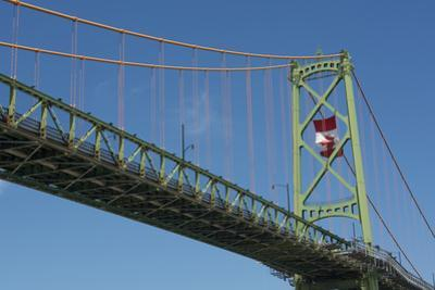 Halifax, Nova Scotia, Harbor with Large Famous Bridge Mckay Bridge with Canadian Flag Flying by Bill Bachmann