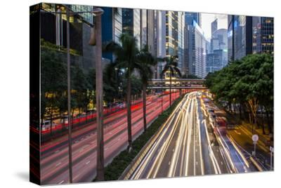 Hong Kong, China. Downtown Traffic , Road with Skyscrapers
