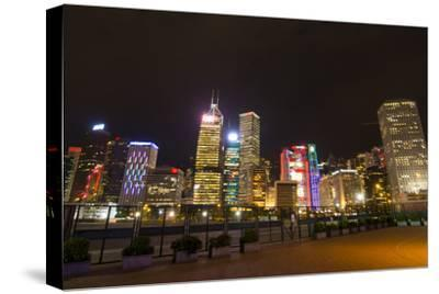 Hong Kong, China. Night Skyline with Twilight in City at Harbor