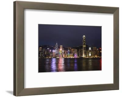 Hong Kong, China. Skyline Harbor with New Ferris Wheel and Reflections , Background