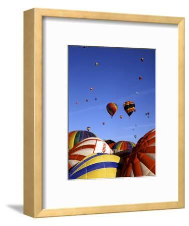 Hot Air Balloons on the Ground and in the Air in Albuquerque, New Mexico, USA