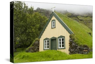 Iceland. Hofskirkja Yellow Church Turf Grass in Town of Hof in South Iceland