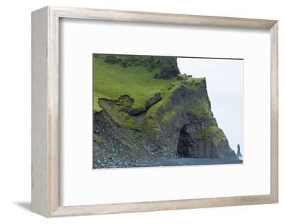 Iceland. Reyniskirkja Cliffs and Rocks of the Black Beach in South Iceland
