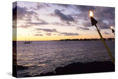 Kona, Hawaii, Big Island, Tiki Torch over Ocean at Kailua-Kona Beach