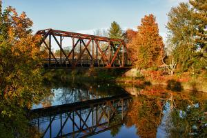 Lake Lamoille with Old Iron Railroad Bridge, Morrisville, Vermont, USA by Bill Bachmann
