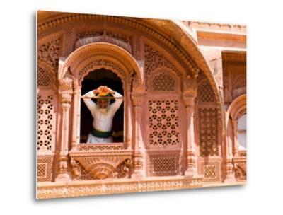 Man in Window of Fort Palace, Jodhpur at Fort Mehrangarh, Rajasthan, India