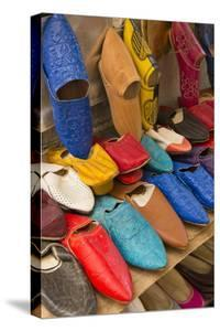 Morocco Fez Colorful Arab Shoes for Sale in Store on Rack by Bill Bachmann