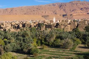 Morocco, Tinghir Oasis and Village with Beautiful Mountains with Trees by Bill Bachmann