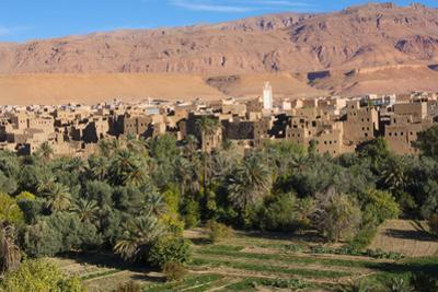 Morocco, Tinghir Oasis and Village with Beautiful Mountains with Trees