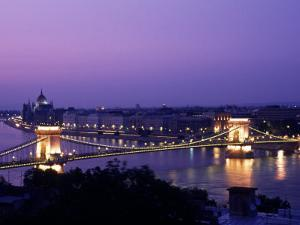 Night View of the Chain Bridge, Parliament, Budapest, Hungary by Bill Bachmann
