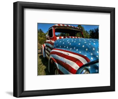 Old Ford Truck Painted with American Flag Pattern, Rockland, Maine, Usa