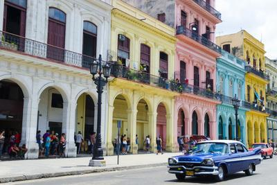 Pastel Buildings Near City Center, Havana, Cuba