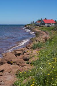 Prince Edward Island, Prim Point Shore and Waves with Red Roof House in Summer with Wildflowers by Bill Bachmann