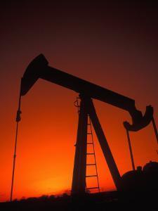 Silhouette of Oil Pump Jack, Tulsa, Oklahoma by Bill Bachmann