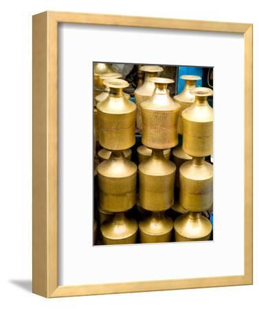 Stack of Brass Milk Jugs in Durbar Square, Kathmandu, Nepal