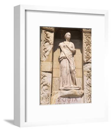 Statue in Historical Wall at Ruins of Ephesus, Turkey