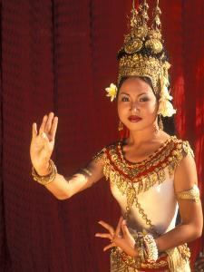 Traditional Dancer and Costumes, Khmer Arts Dance, Siem Reap, Cambodia by Bill Bachmann