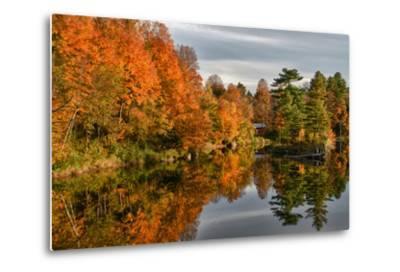 USA, Vermont, Morrisville. Lake Lamoille Reflecting Fall Foliage