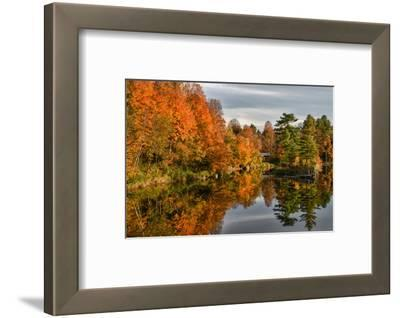 USA, Vermont, Morrisville. Lake Lamoille Reflecting Fall Foliage