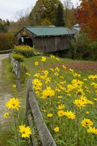 USA, Vermont, Waterville. Church Street Covered Bridge in Fall by Bill Bachmann