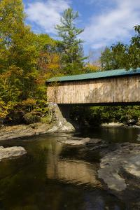 USA, Vermont, Waterville. Montgomery Covered Bridge with Fall Foliage by Bill Bachmann
