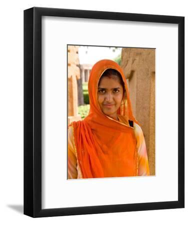 Woman in Sari Dress at Qutub Minar Complex, New Delhi, India