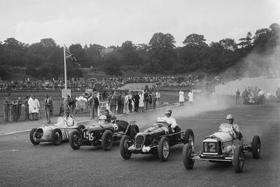 Austin 7 of WD Castello, Alta of Eric Winterbottom and MG K3 racing at Crystal Palace, London, 1939