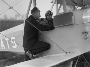 Kitty Brunell in the cockpit of a Blackburn Bluebird aeroplane, c1930s by Bill Brunell