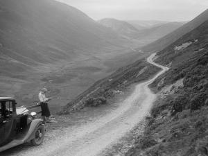 Kitty Brunell with a Vauxhall, Cwm Hirnant, Bala, Gwynedd, Wales, c1930s by Bill Brunell