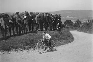 Motorcycle competing in the South Wales Auto Club Caerphilly Hillclimb, Wales, pre 1915 by Bill Brunell