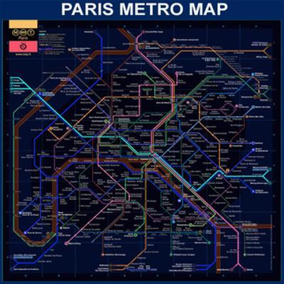 Paris Metro Map- Blue by Bill Cannon