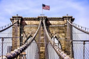 Brooklyn Bridge with Flag by Bill Carson Photography