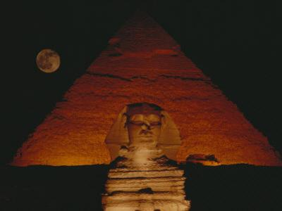 A View of the Great Sphinx and the Chephren Pyramid at Night by Bill Ellzey