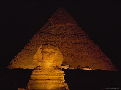 A View of the Great Sphinx at Night, Lit by a Light Show